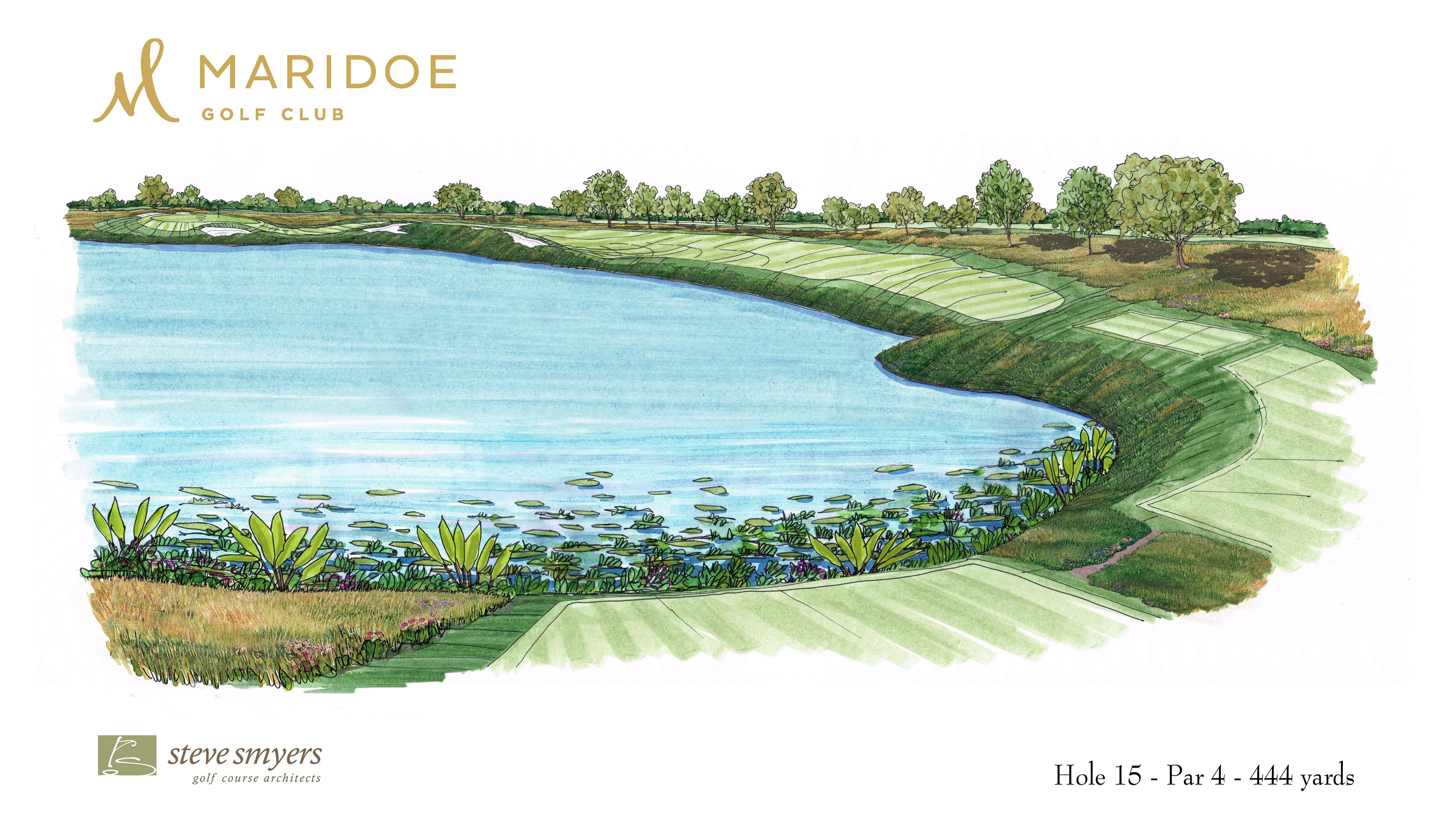 Steve Smyers Golf Course Architects   Maridoe Golf Club   Hole  15     Steve Smyers Golf Course Architects   Maridoe Golf Club   Hole  15 Sketch    stevesmyers