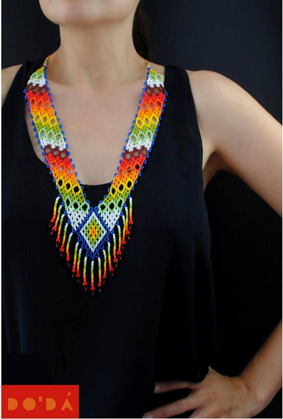 Indigenous Necklace / Multicolored  blue and Hand-beaded /