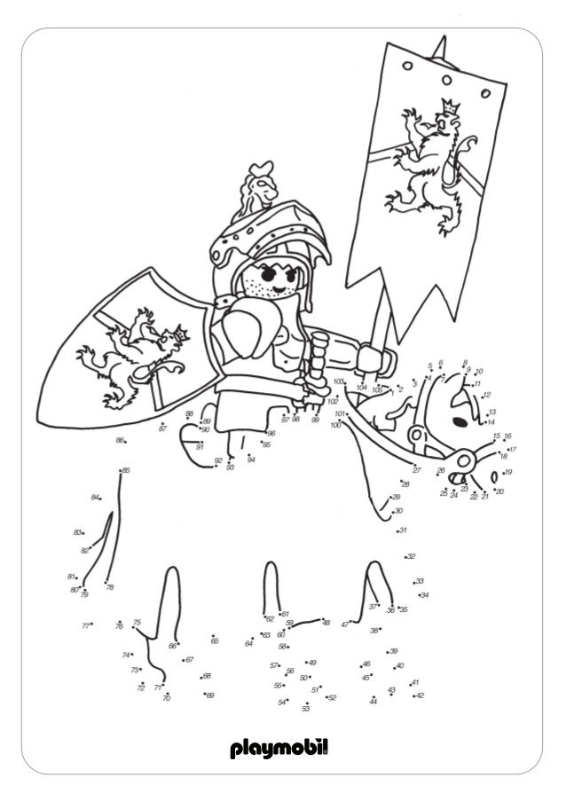knight numbered - dot to dot to 100 colouring dot to dot - best of coloring pages playmobil knights