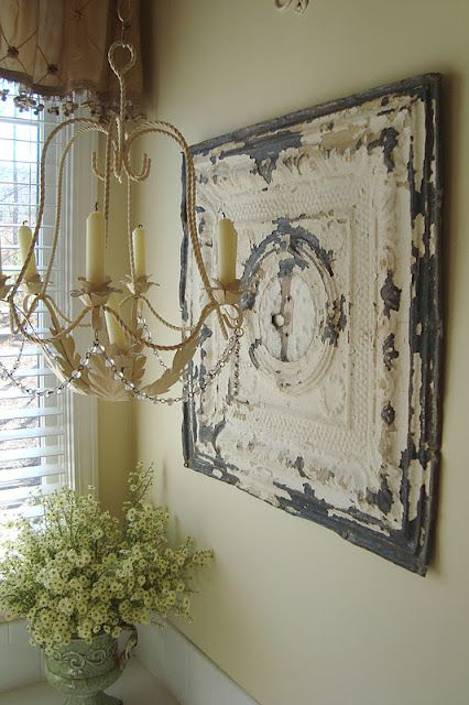 Decorating With Old Salvage Porch Wall Decor Antique Ceiling Tile Wall Decor Living Room