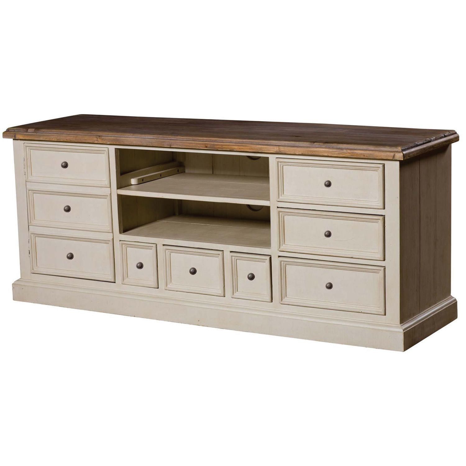 This LCD TV Stand has the white washed finish of a sea-sprayed ...