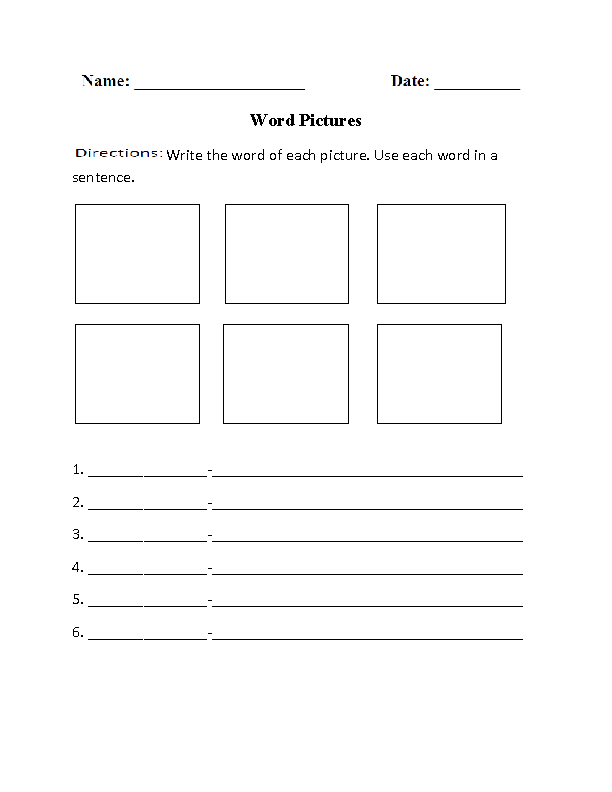 Word Pictures Graphic Organizers Worksheet