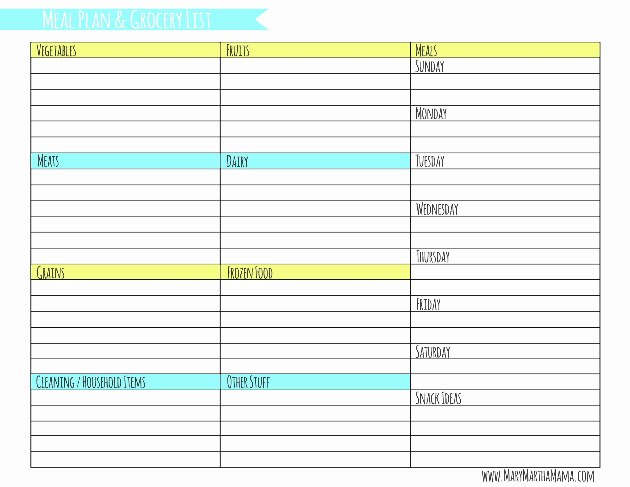 Monthly Meal Planner Template Best Of Weekly Meal Planner