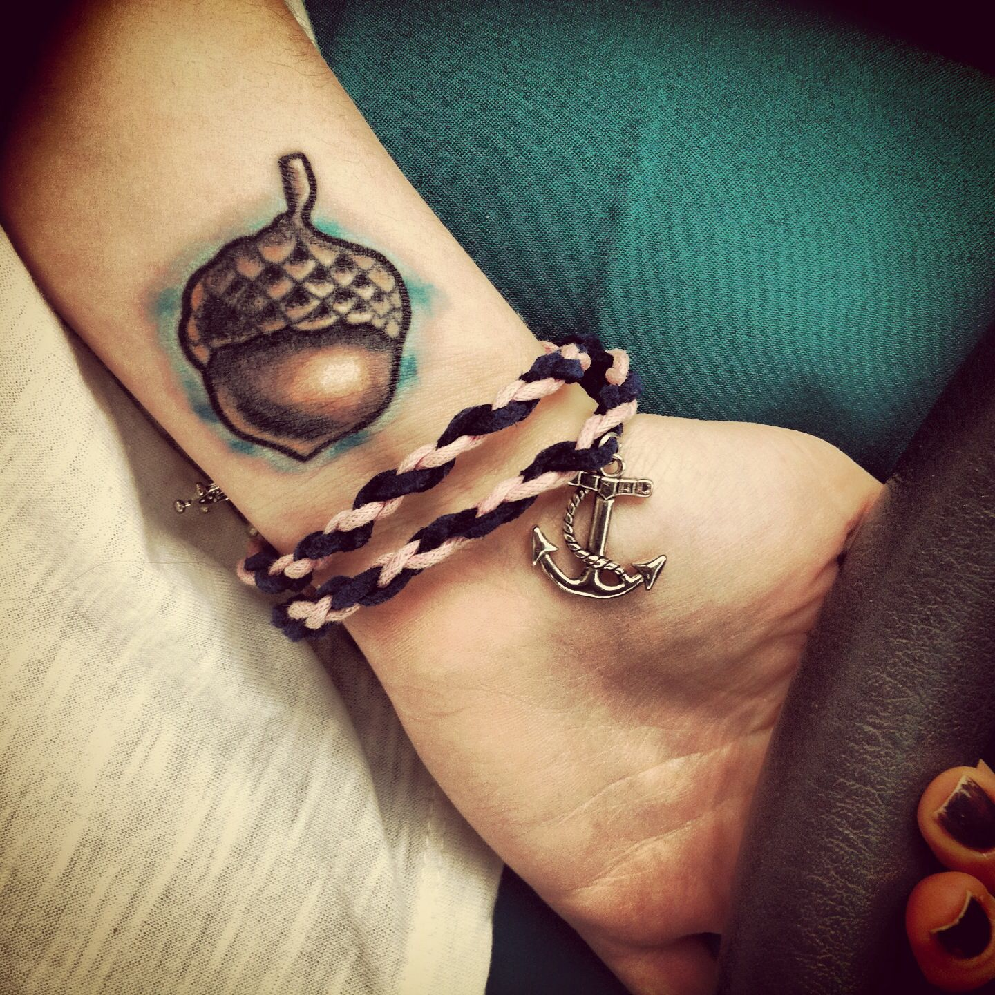 My acorn tattoo acorntattoo tattoos pinterest acorn while the idea of an acorn tattoo may sound a little nuts these little guys were actually considered good omens by the english during the norman conquest buycottarizona Image collections
