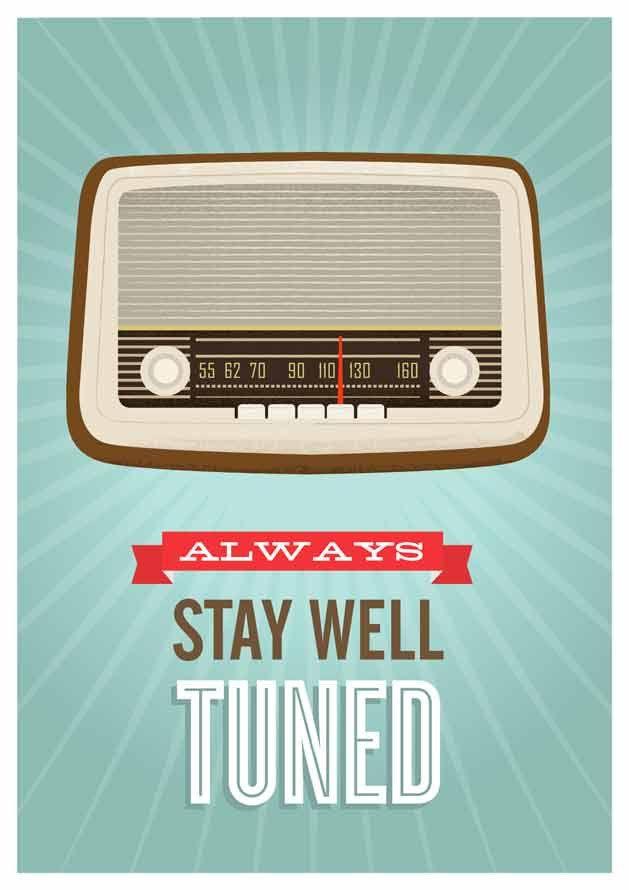 Mid Century Art, Retro vintage radio poster, typography quote art, nursery decor, kids art Stay well tuned A3 size. via Etsy.