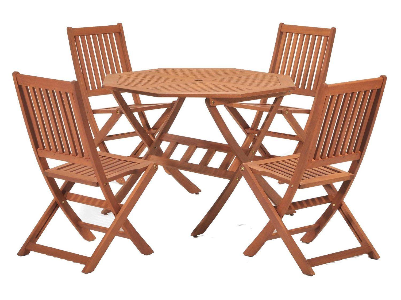 Cotswold FSC Eucalyptus Wood Outdoor 4 Seater Dining Set, With Octangonal  Tableu2026