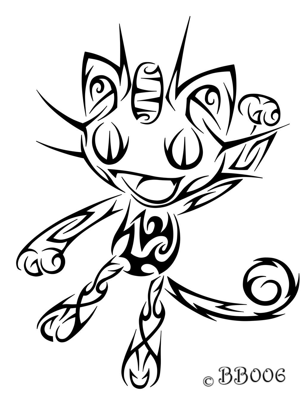 Pokemon coloring pages pancham - 052 Meowth