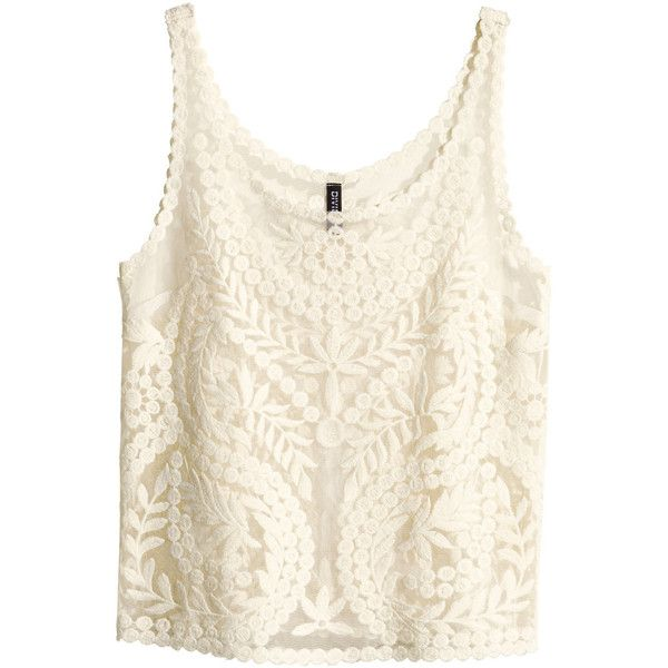 a0b8a9aad183a6 H&M Lace top ($15) ❤ liked on Polyvore featuring tops, shirts, tank tops,  h&m, natural white, white lace tank, lace shirt, white lace top, h&m shirts  and ...