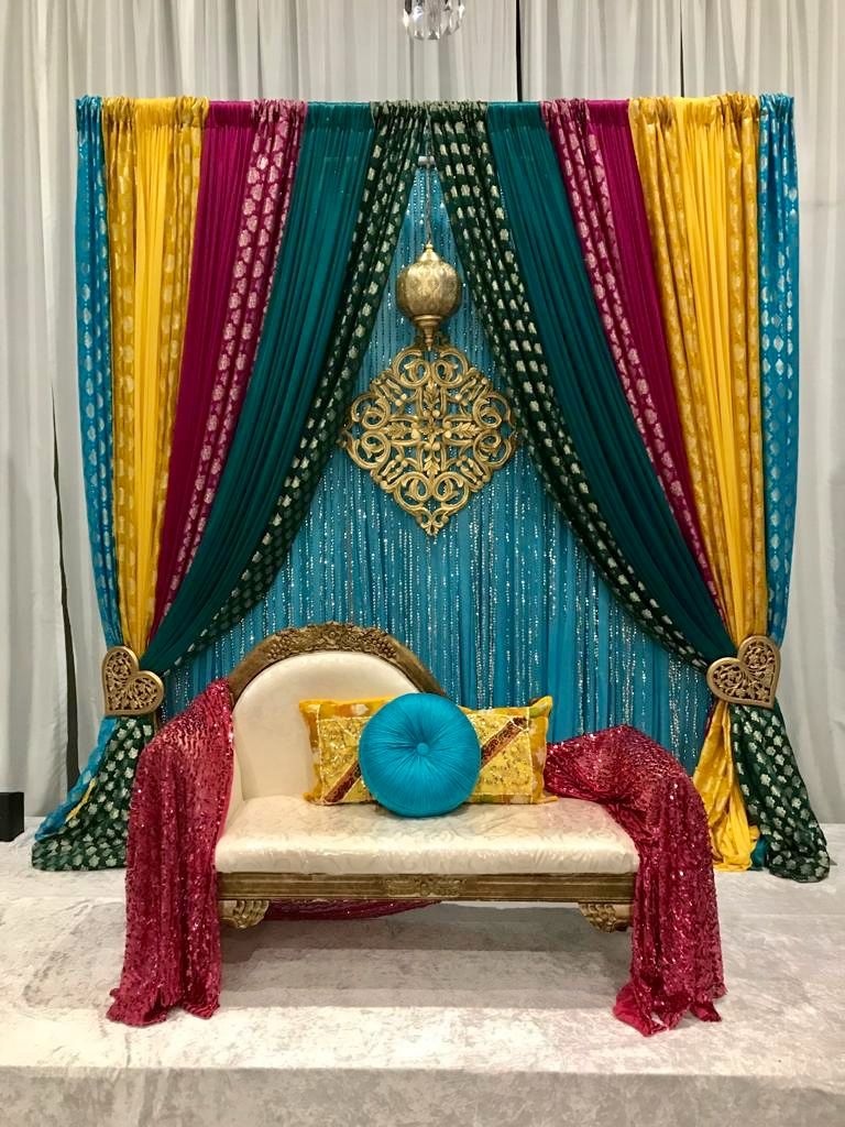 Pin by Usha Lagah on Indian pakistani wedding stage decor Mandap | Ganpati  decoration at home, Mehendi decor ideas, Mehndi stage decor