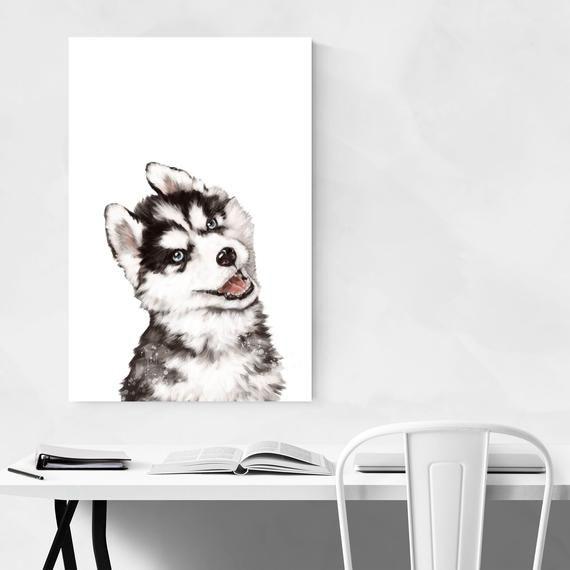 Baby Husky Print, Nursery Decor Prints, Nursery Animal Print, Childrens Room Art, Peekaboo Animal, N #babyhusky