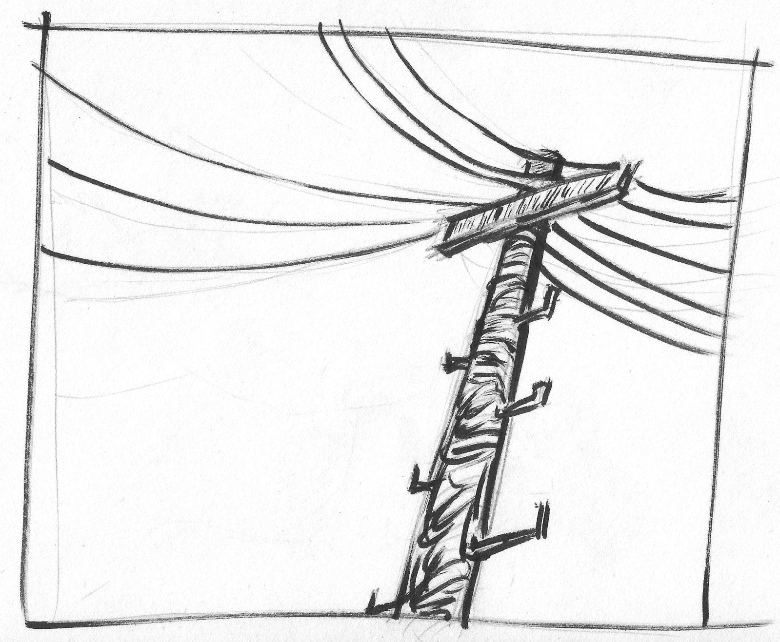 Power Lines Light Pole Brush Pen Nb Orig