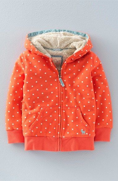 Mini Boden 'Shaggy Lined' Polka Dot Zip Hoodie (Toddler Girls, Little Girls & Big Girls)
