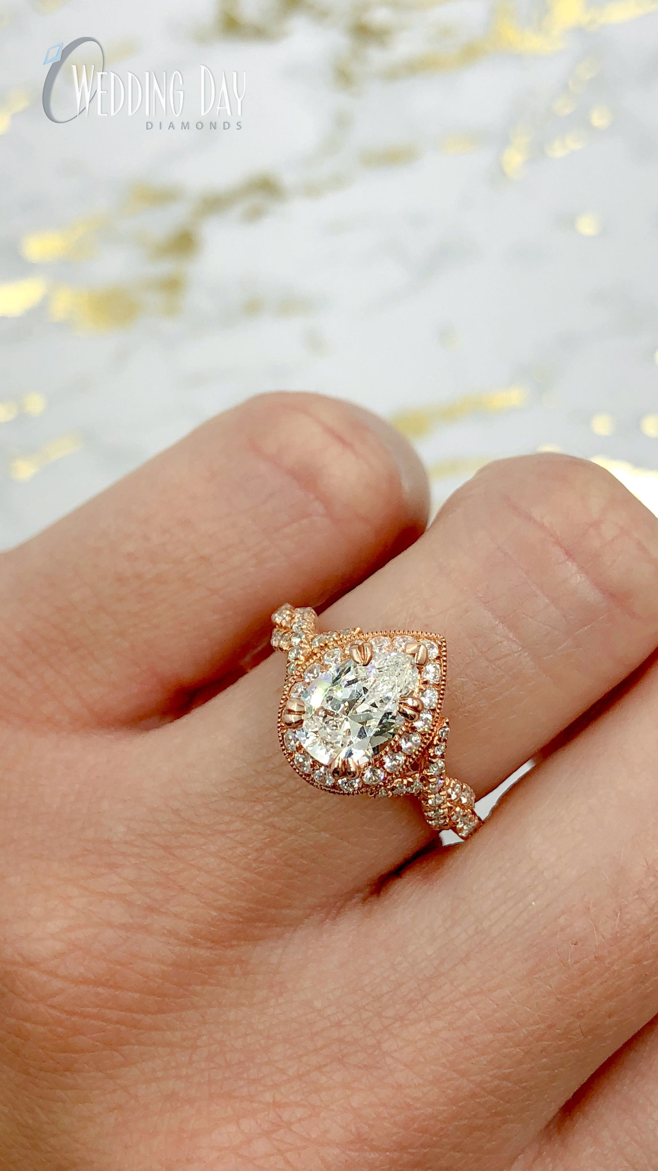 Rose Gold Pear Shape Vintage Style Diamond Halo Engagement Ring Rose Gold Pear Engagement Ring Pear Engagement Ring Halo Engagement Rings Twisted