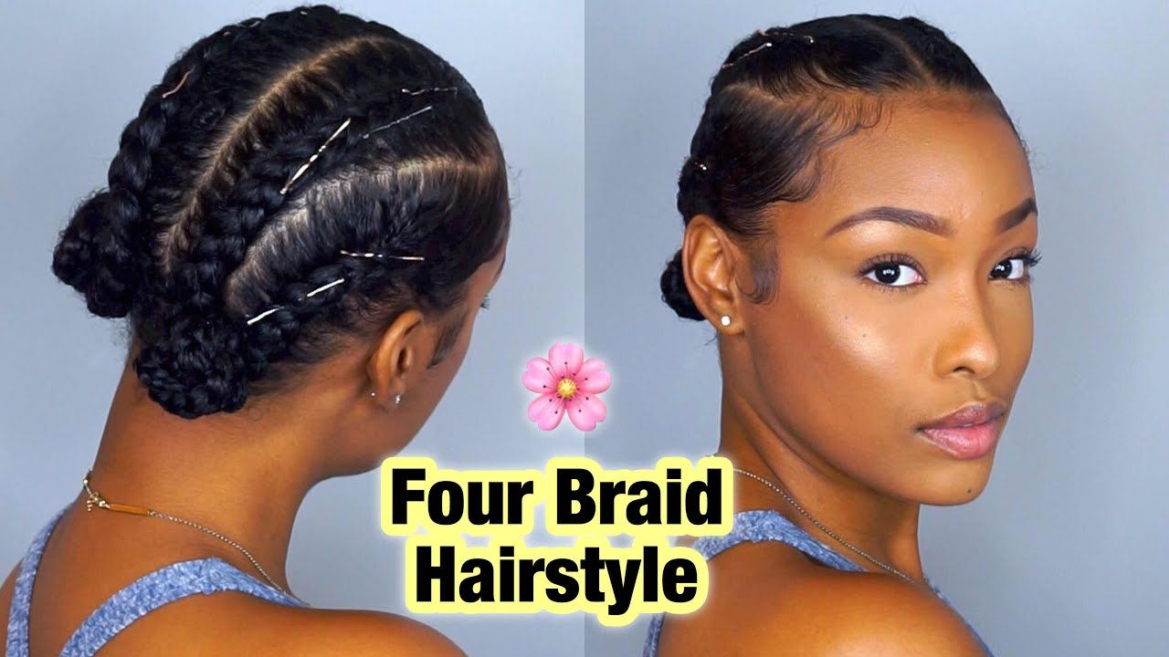 Simple Four Braid Hairstyle For Natural Hair Fabulousbre Youtube Short Natural Hair Styles Cool Braid Hairstyles Protective Hairstyles For Natural Hair