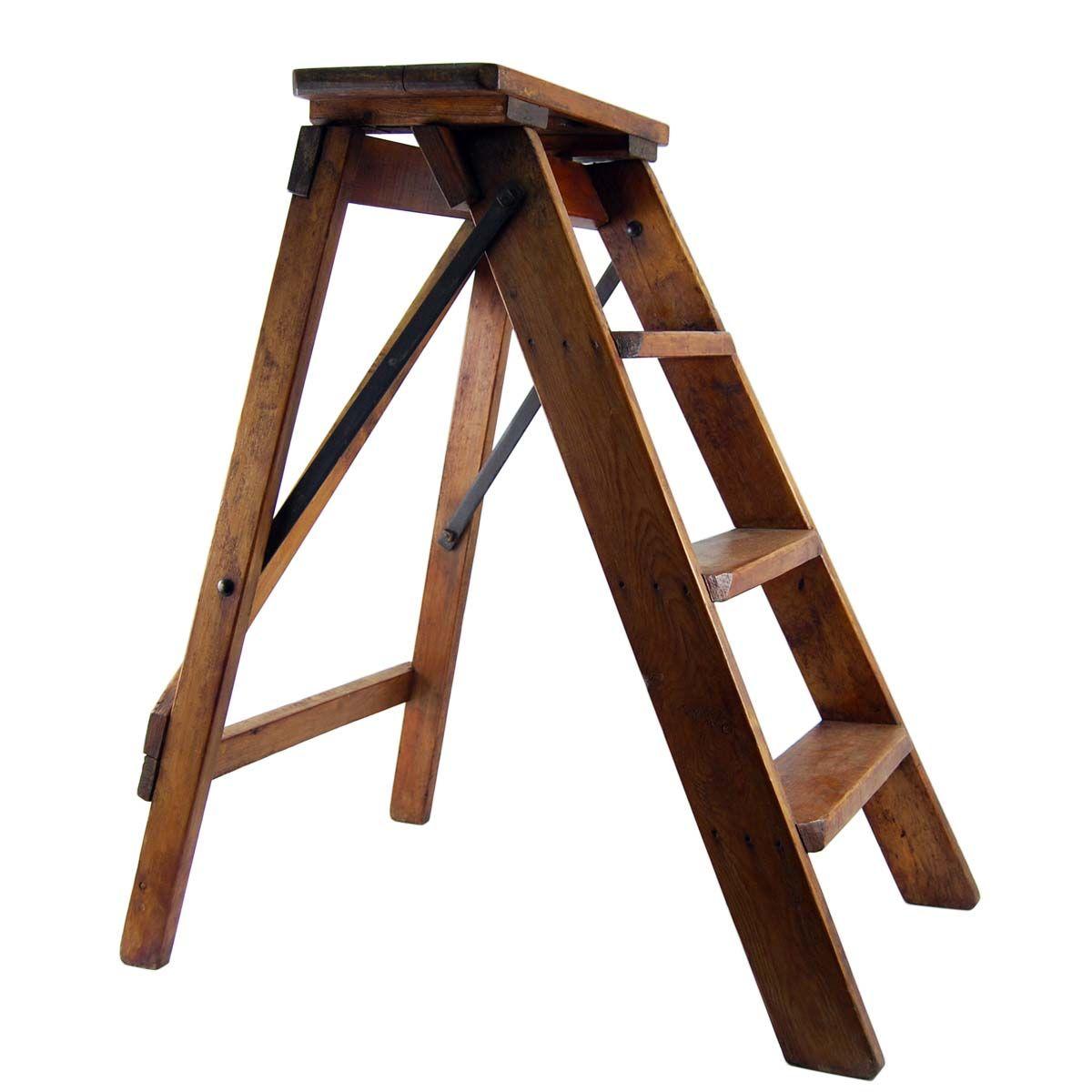 Vintage Step Ladder With Shelf