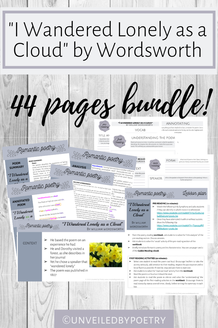 Bundle I Wandered Lonely A Cloud By Wordsworth Poetry Lesson Elementary Poem Analysis Analysi