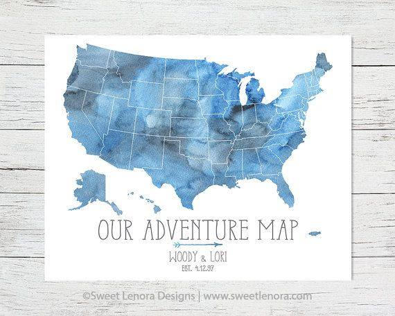 Push Pin 50 States Our Adventure USA Map Watercolor Foam Travel