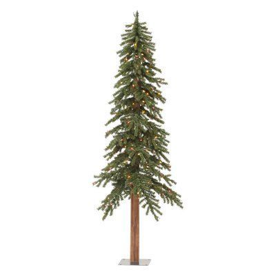 Vickerman Natural Alpine Slim Pre Lit Christmas Tree A805131  - Vickerman Pre Lit Christmas Trees