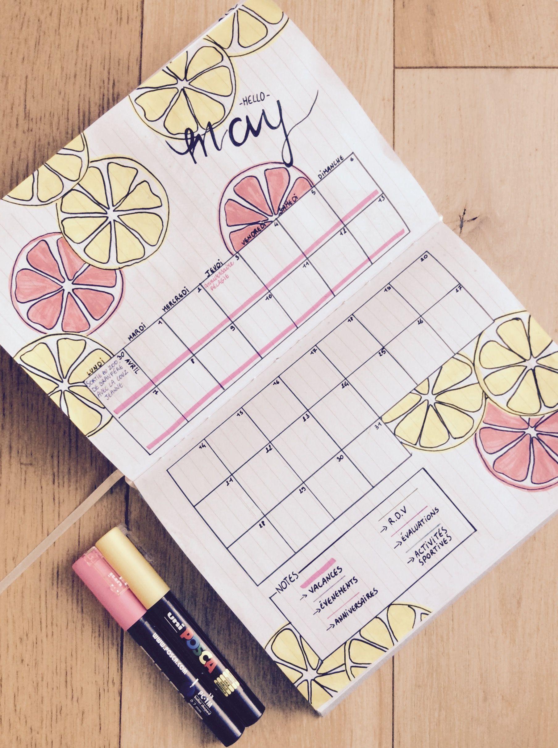 Calendrier Pinterest.Mon Bullet Journal Mois De Mai 2018 Calendrier Fruite