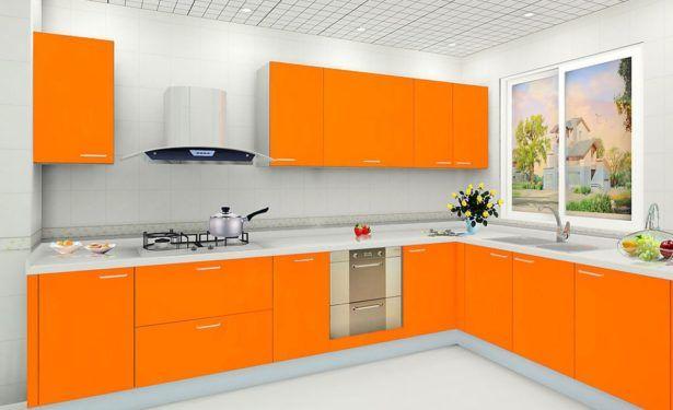 Trellis Ceiling Orange Corner Cabinets