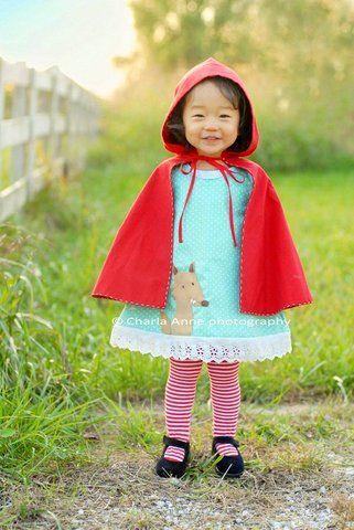 Little Red Riding Hood costume Halloween Garb  Make-Up - cute childrens halloween costume ideas