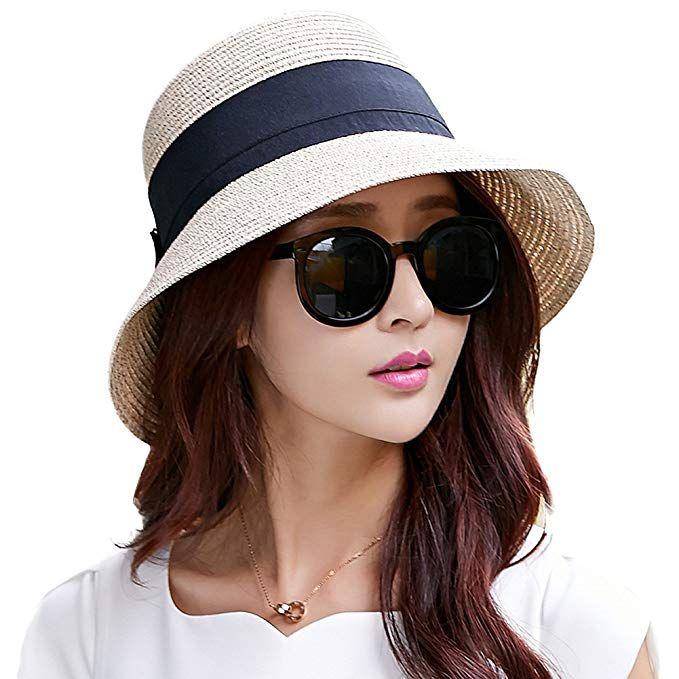 172a7b7b32c2 Summer Straw Sun Hat for Women Beach Floppy Fedora Panama Hats SPF Travel  Foldable Wide Brim