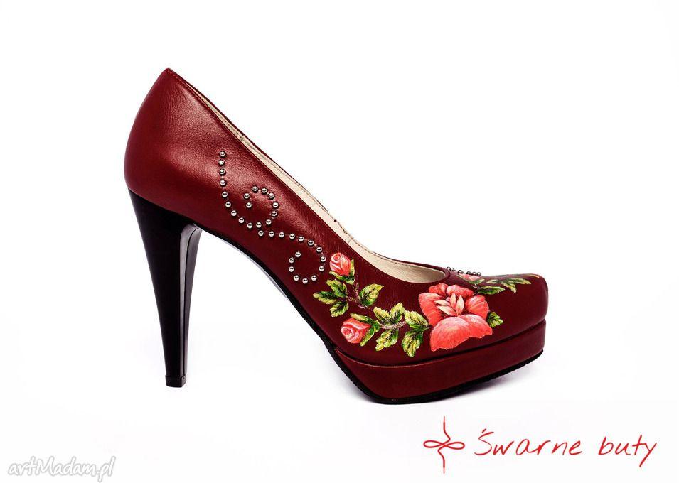 Goralskie Malowanki Bordo Buty Handmade Swarne Heels Folk Fashion Peep Toe