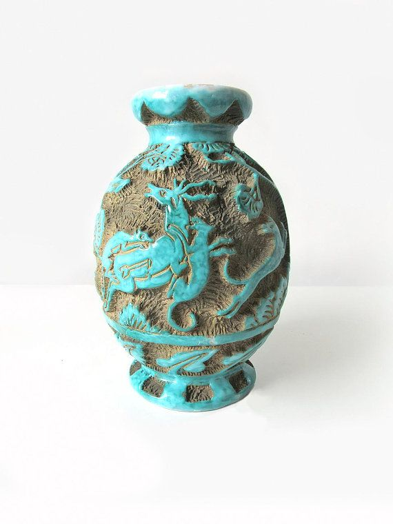 Unusual Vintage Deruta Turquoise Sgraffito Pottery Clay Ceramic