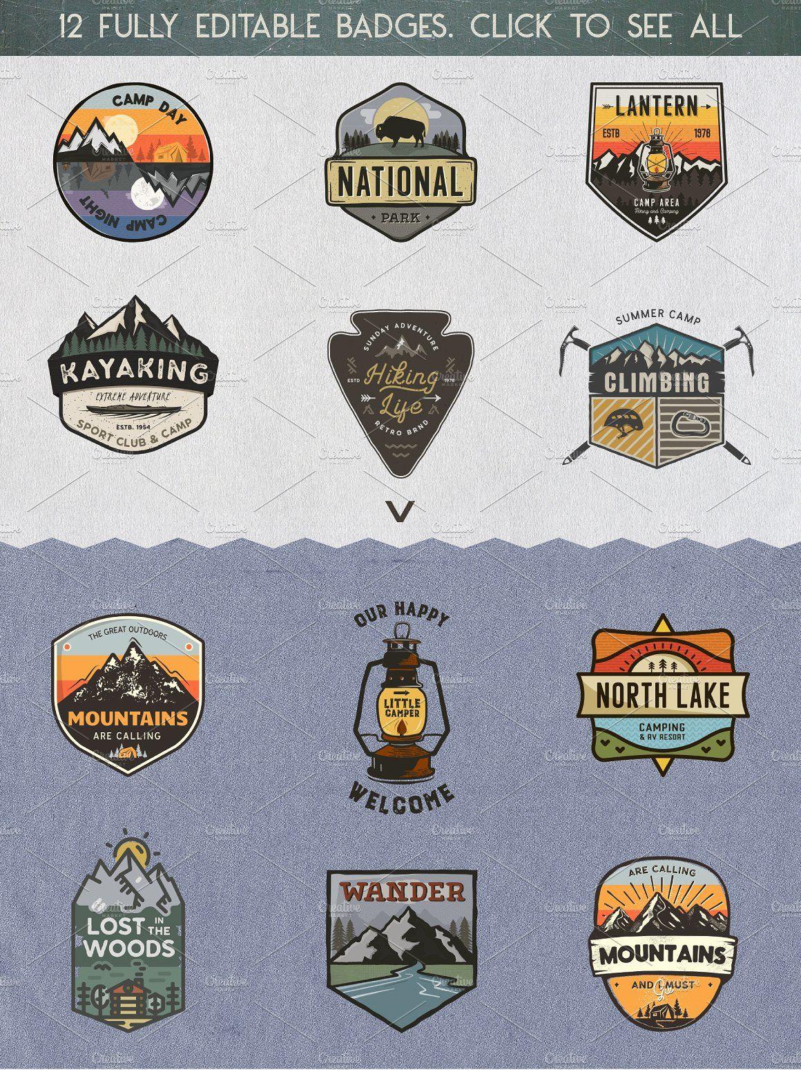 Retro Camp Badges Outdoor Stickers Travel Logo Badge Logo Creation [ 1549 x 1160 Pixel ]
