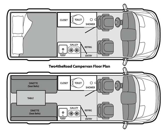 Mercedes Sprinter Floor Plan: Two4theRoad Campervan, Dodge Sprinter Campervan Rental