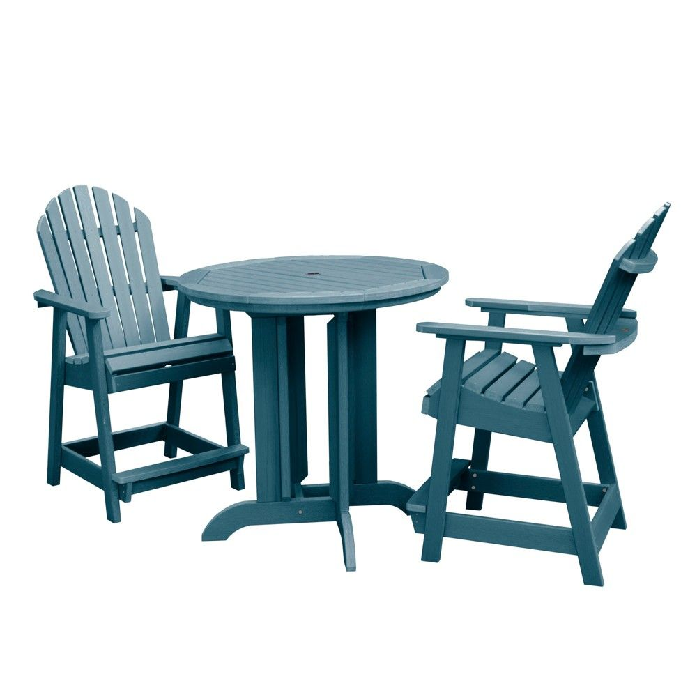 Highwood Patio Furniture.Hamilton 3pc Round Counter Dining Set Nantucket Blue Highwood In