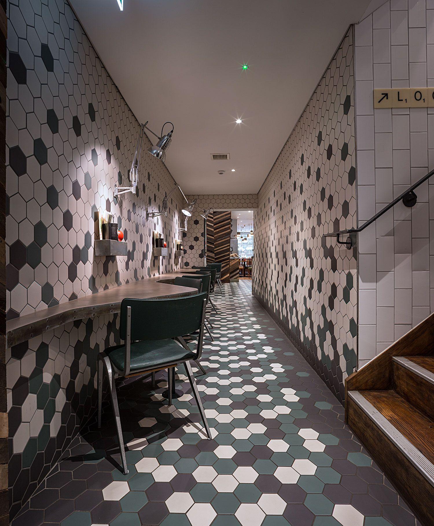 Fab restaurant design at Gourmet Burger Kitchen. Bands of hexagon ...