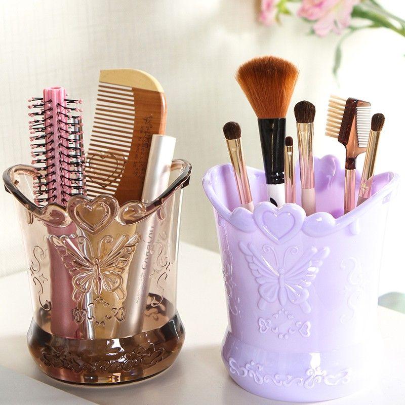 Bakingchef Relief Retro Makeup Brush Cylinder Comb Storage Cases Desktop Organizer Accessories Supplies Gear Stuff Product Lot In Bottles Jars