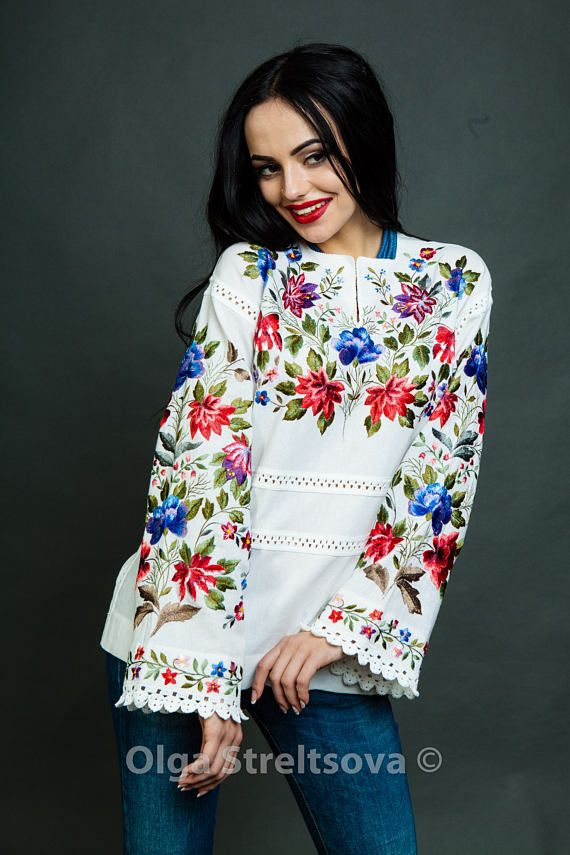 Embroidered blouse Flower melody vyshyvanka mexican blouse white ... 806ddc25ad1f5