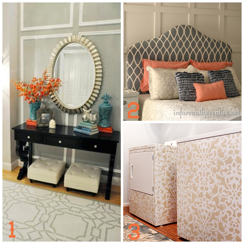 16 Creative DIY Stencil Projects | Spruce up old or thrifted furniture and other home decor accessories using stencils! UpcycledTreasures.com