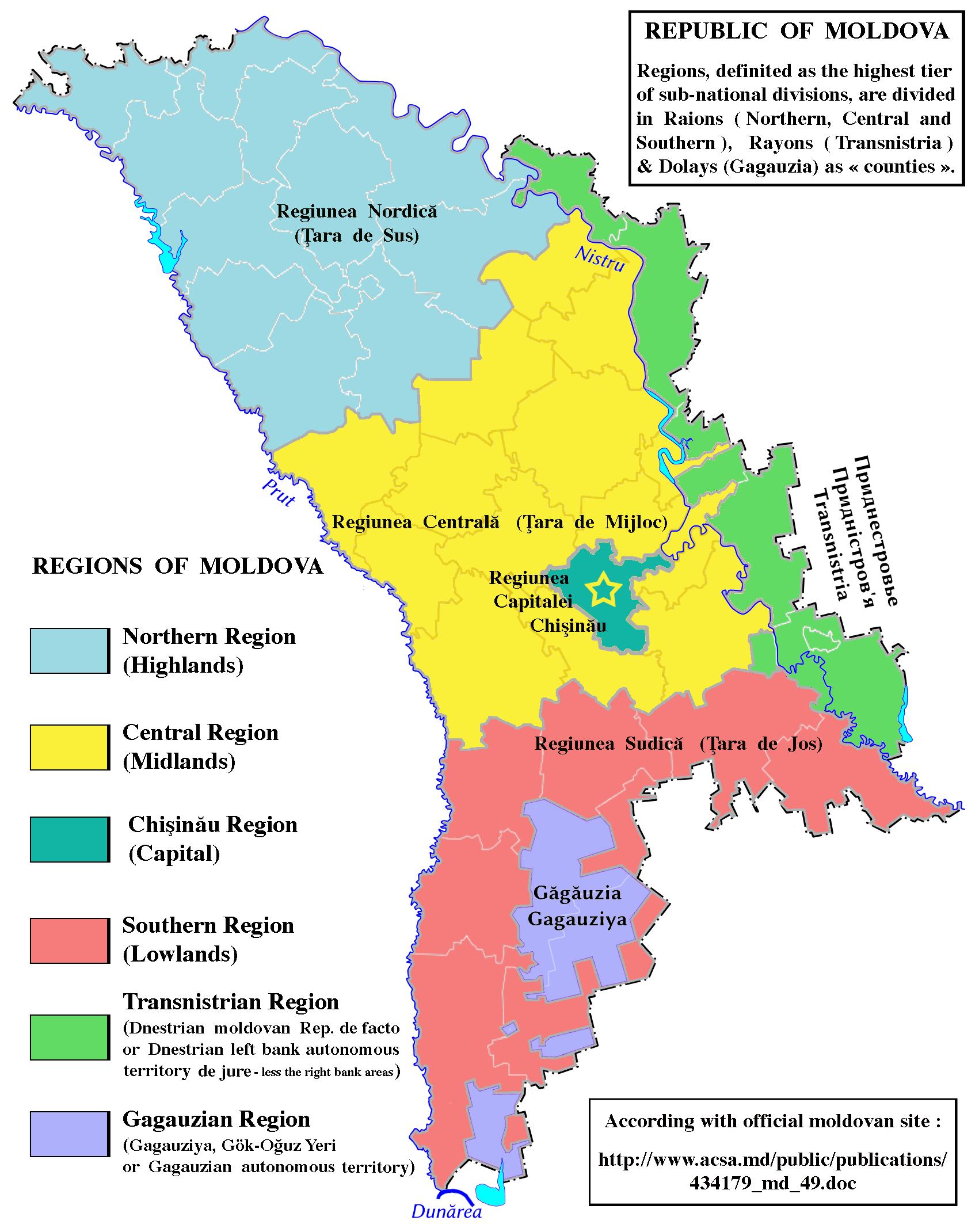 Regions Of Moldova Moldova Republic Of Moldova Historical Maps