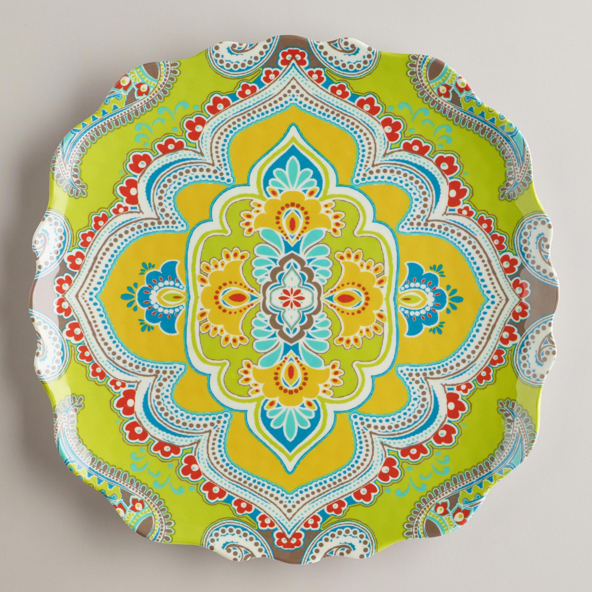 Green Paisley Antigua Plates, Set of 2 | World Market | Ceramics and ...