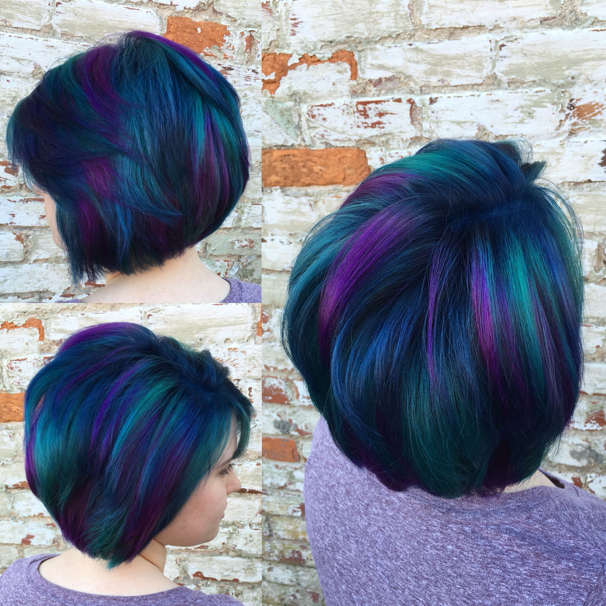 Peacock Hair Blue Purple And A Little Green Peacock Hair Color Hair Color Pastel Hair Styles