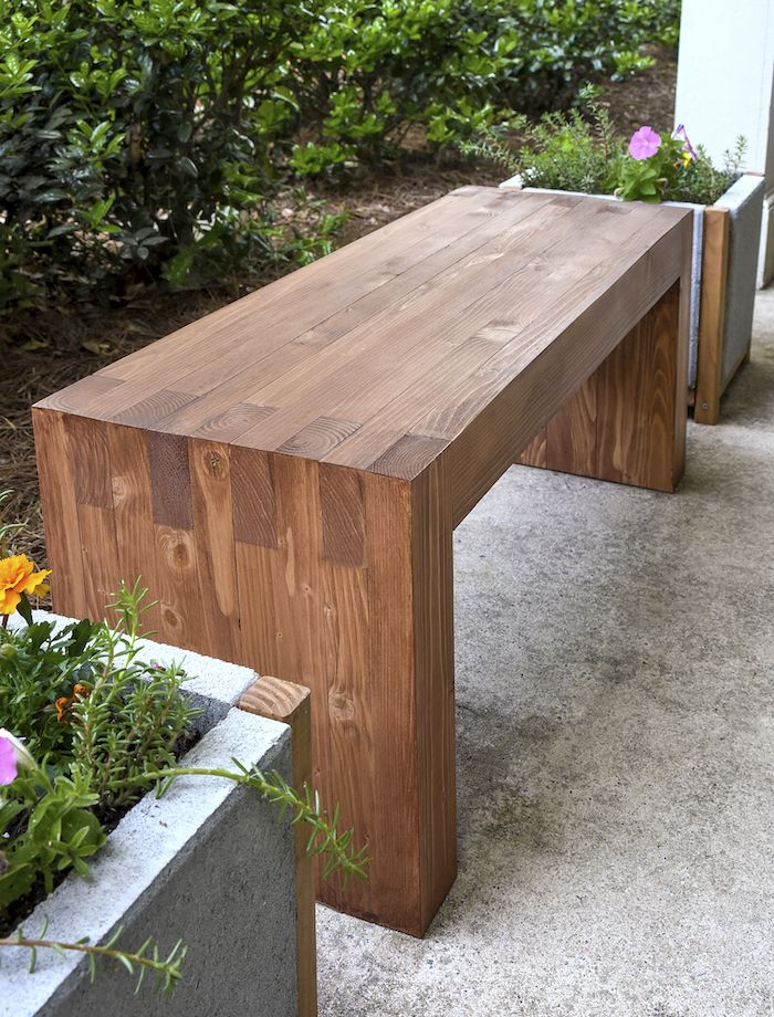 Use  35 in wood and supplies to make this perfectly modern DIY outdoor bench  that looksWilliams Sonoma inspired DIY outdoor bench   Woods  Modern and  . Outdoor Bench Project Plans. Home Design Ideas