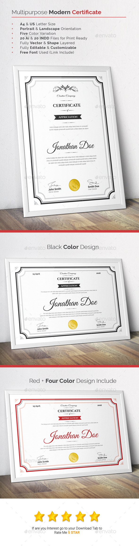 Multipurpose Modern Certificate Template Indd Vector Ai Download