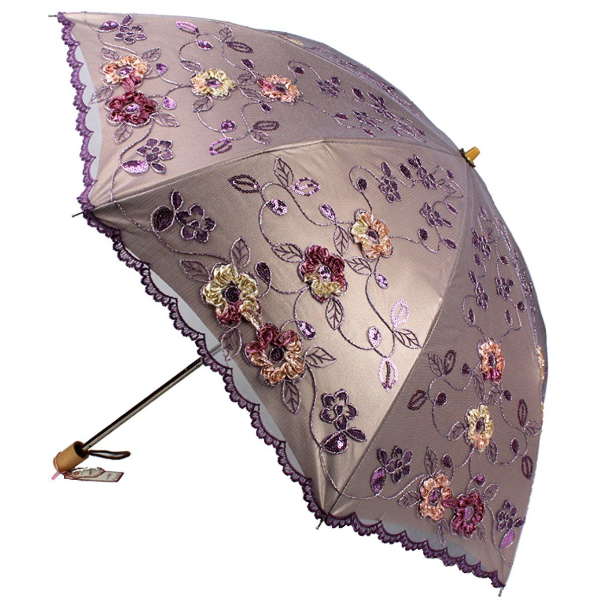 3f7ae93ad2878 Amazon.com: Sunny World Ladies UV Protected Parasol Two Folding Anti ...