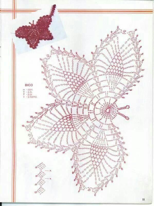 Butterfly Crochet pattern Mais | Havlu | Pinterest | Mariposas ...