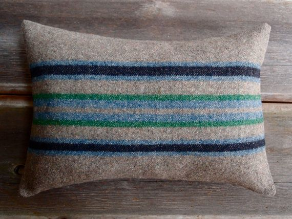 Rustic Modern Grey Striped Wool Pillow / Lake & by lakeandsagepdx, $60.00