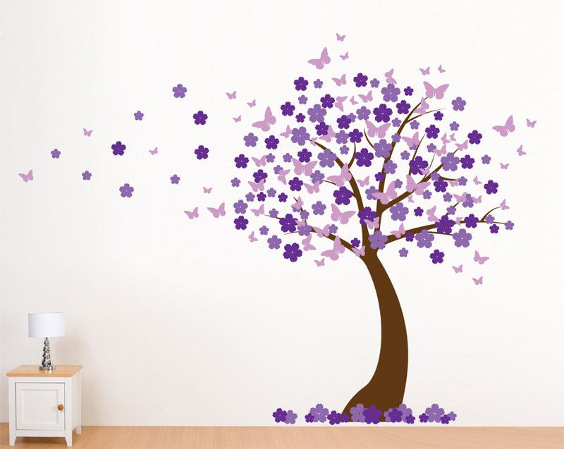 Cherry Blossom Wall Decal Blowing Butterflies Custom Color - Custom vinyl wall decals cherry blossom tree