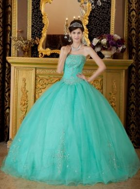 a7565354542 Turquoise Ball Gown Strapless Floor-length Organza Beading Quinceanera Dress