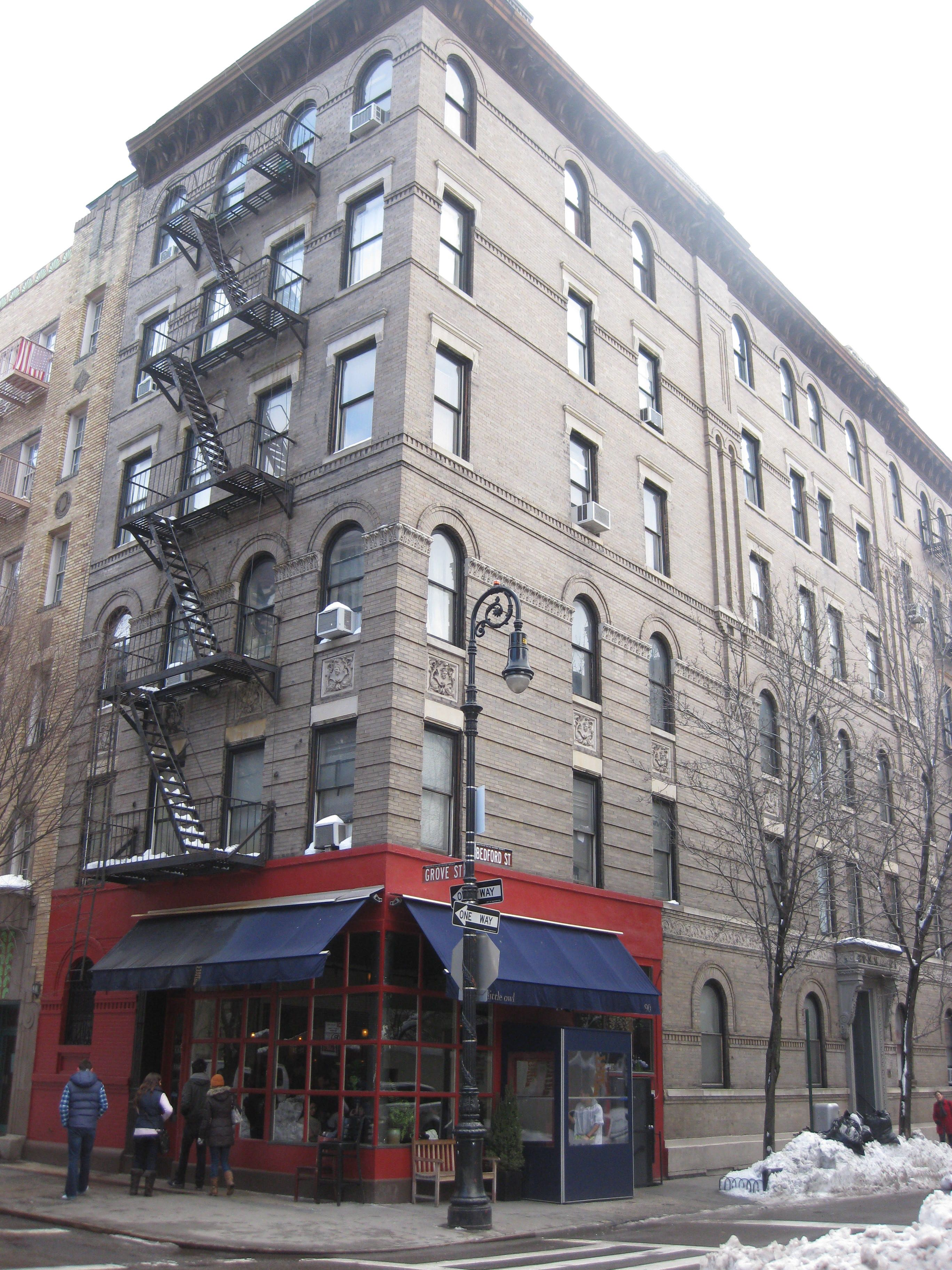 new york apartments buildings. NYC Greenwich Village  the corner of Bedford and Grove The Friends apartment building