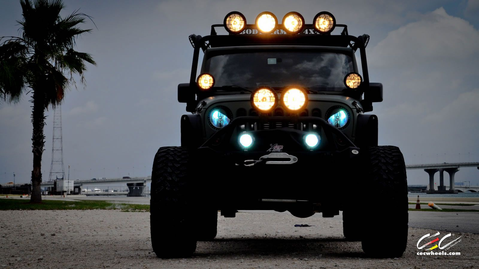 Hd wallpaper jeep - Cec Wheels Miami Supercharged Jeep Wrangler Wallpaper Front View