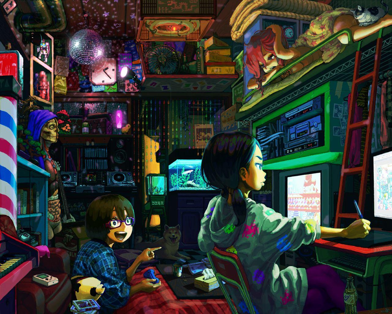 Otaku Room Otaku Room Colorful Art Anime Style