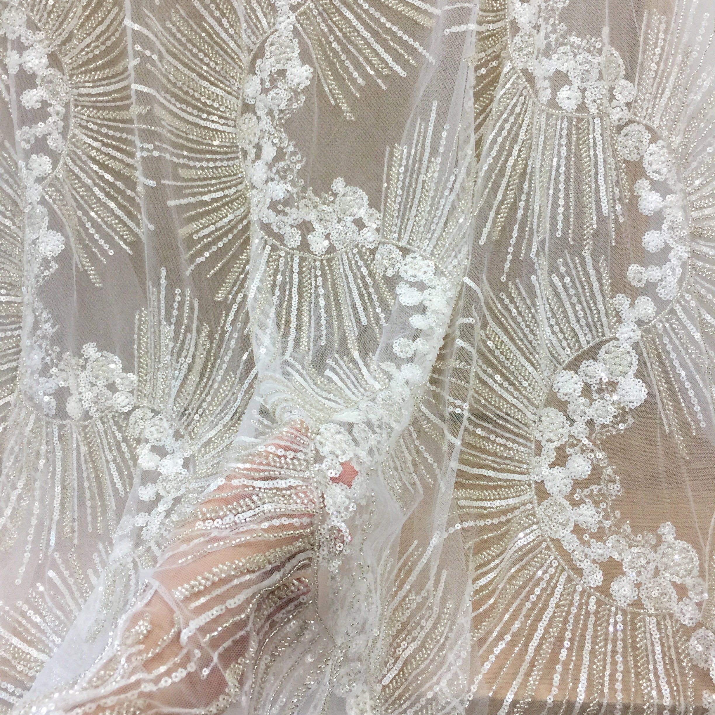 Haute Peach Floral Embroidered Lace Embedded Stone High Fashion Fabric Sold By The Yard