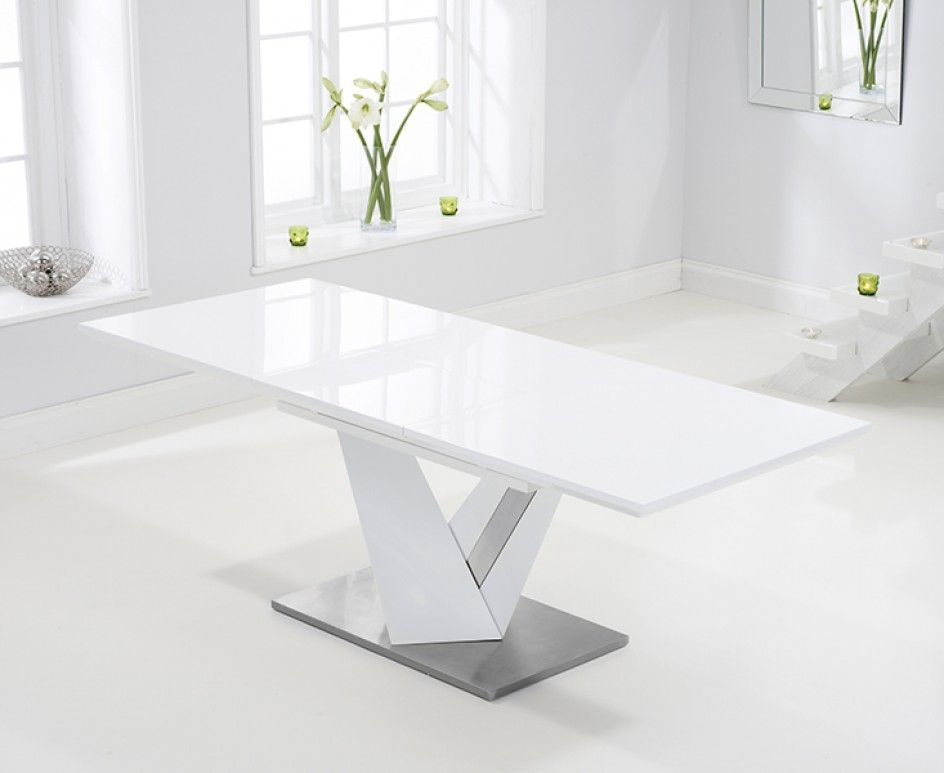 Harmony 160cm Extending White High Gloss Dining Table Dining